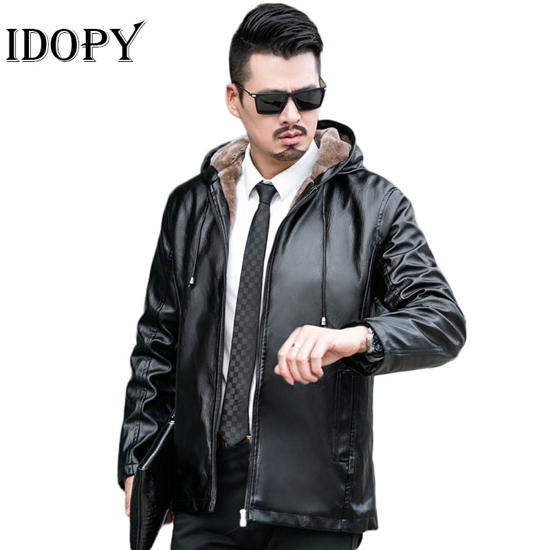 Idopy Faux Leather Jacket Men Autumn Winter Mens Motorcycle Leather Jackets With Hoodies Outerwear Casual Coat