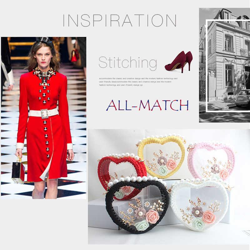 SEKUSA new design heart women evening bags knitted beaded ladies clutch bags with flower diamonds shoulder handbags