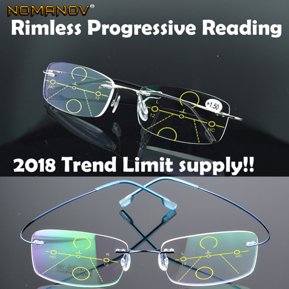 NOMANOV = 8 Colors Titanium Alloy Rimless Progressive Multifocal Reading Glasses See Near And Far ADD +75 100 150 175 200 To 400