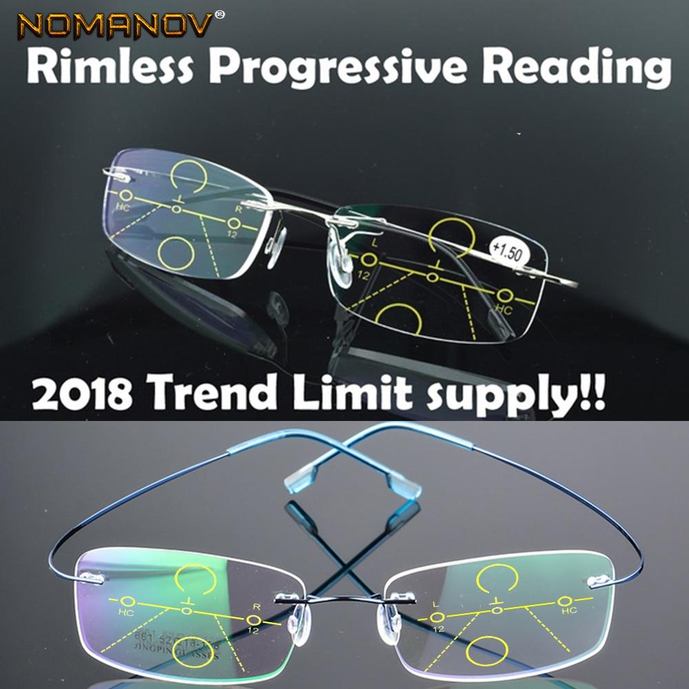 NOMANOV = 8 Colors Titanium Alloy Rimless Progressive Multifocal Reading Glasses See Near And Far ADD +75 100 150 175 200 To 400