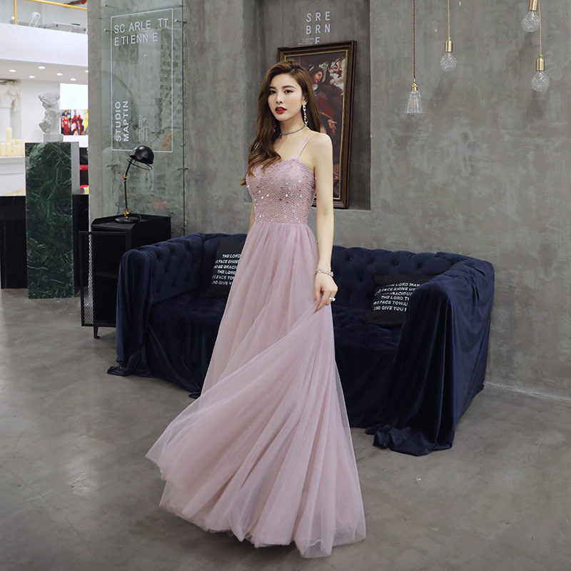 Sexy Sling  Backless Sequins Dress  Birthday Party Evening Dress Women Formal Evening Dress   Vestidos