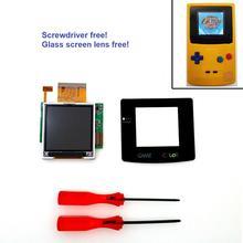 Için yüksek ışık GBC arka işık arka işık LCD ekran GameBoy renk konsolu GBC konsolu cam ekran tornavida ücretsiz!