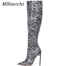 MStacchi Snake Skin Botines Mujer 2019 Herfst Winter Over De Knie Laarzen Sexy Dames Hoge Hak Pomp Vrouwen Wees Teen party Boot(China)