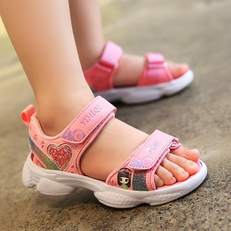 ULKNN Girls Summer Sandals 2020 Fashion Big KIDS Princess Shoe Children Soft-Sole Korean-style Little Girl CHILDREN'S Shoes