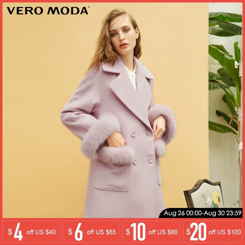 Vero Moda new 100% wool Coat Fur decoration long Jacket | 318327501