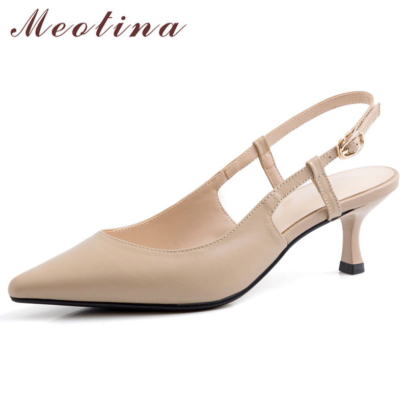 Meotina High Heels Women Shoes Natural Genuine Leather Thin High Heel Slingbacks Shoes Cow Leather Buckle Pointed Toe Pumps Lady