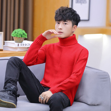 Korean Turtleneck Sweaters Men Spring Autumn Warm Pullover Solid Color Long Sleeve Turtle Neck Sweater Casual Slim Fit M-3XL