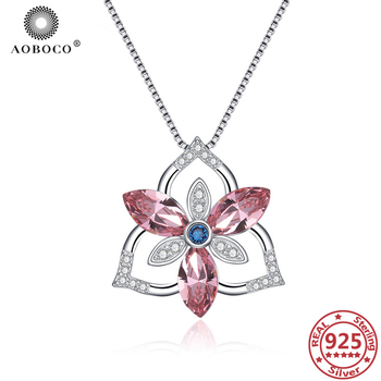 AOBOCO 925 Sterling Silver Flower Crystal Necklaces Crystal Zircon Pendant Necklace Mother's Day Gift Mom's Gift Woman's Jewelry