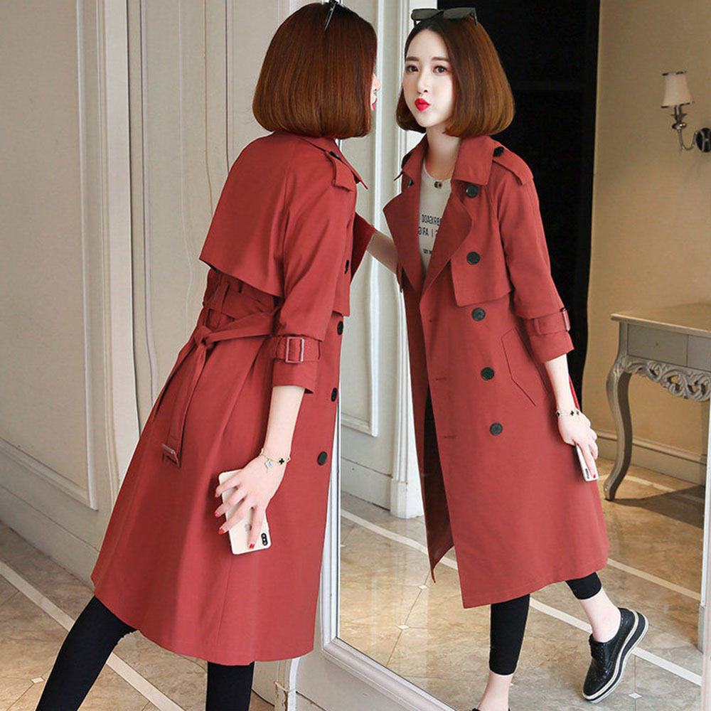Womens Trench Coats Large Size Slim Trenchcoat Double Breasted Women Fashion Coats Long Trench Plus Size Femme Fall Clothes