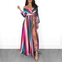 2019 Colorful Rainbow Backless Striped Dress 3/4 Sleeve Side Slit Long Dress Women Off Shoulder Party Shirt Dresses