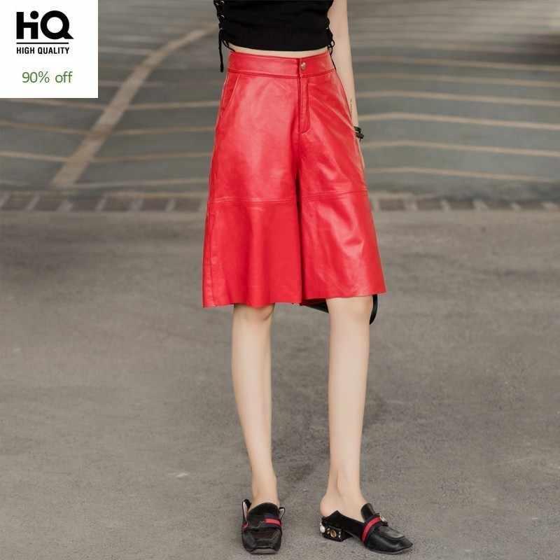 Moda bayan diz boyu koyun derisi hakiki deri geniş bacak pantolon gevşek Fit Streetwear Hip Hop rahat Joggers harem pantolon 4XL