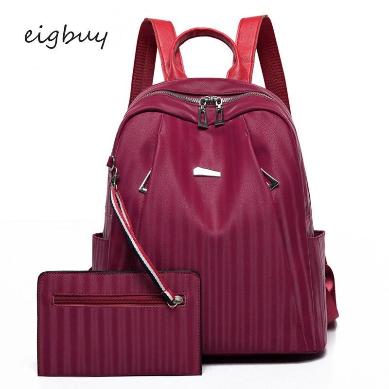 Women Cute Backpacks Designer Solid Zipper Striped Black Fashion School For Teenagers Mochila Bookbag Backpack