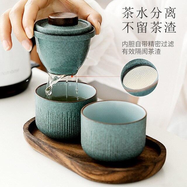 Voyage Kung Fu service à thé voiture extérieure tasse rapide un Pot deux ou trois tasses Mini sac de transport filtre tasse à thé