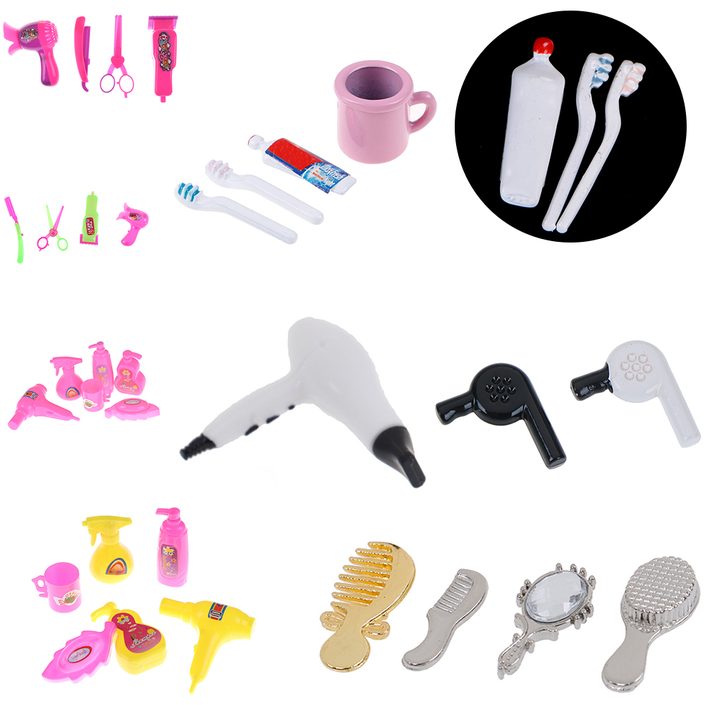 Best Sale 1/12 Dollhouse Miniature Comb Hair Dryer Toothpaste Toothbrush Bathtub For Dolls Bathroom Accessories