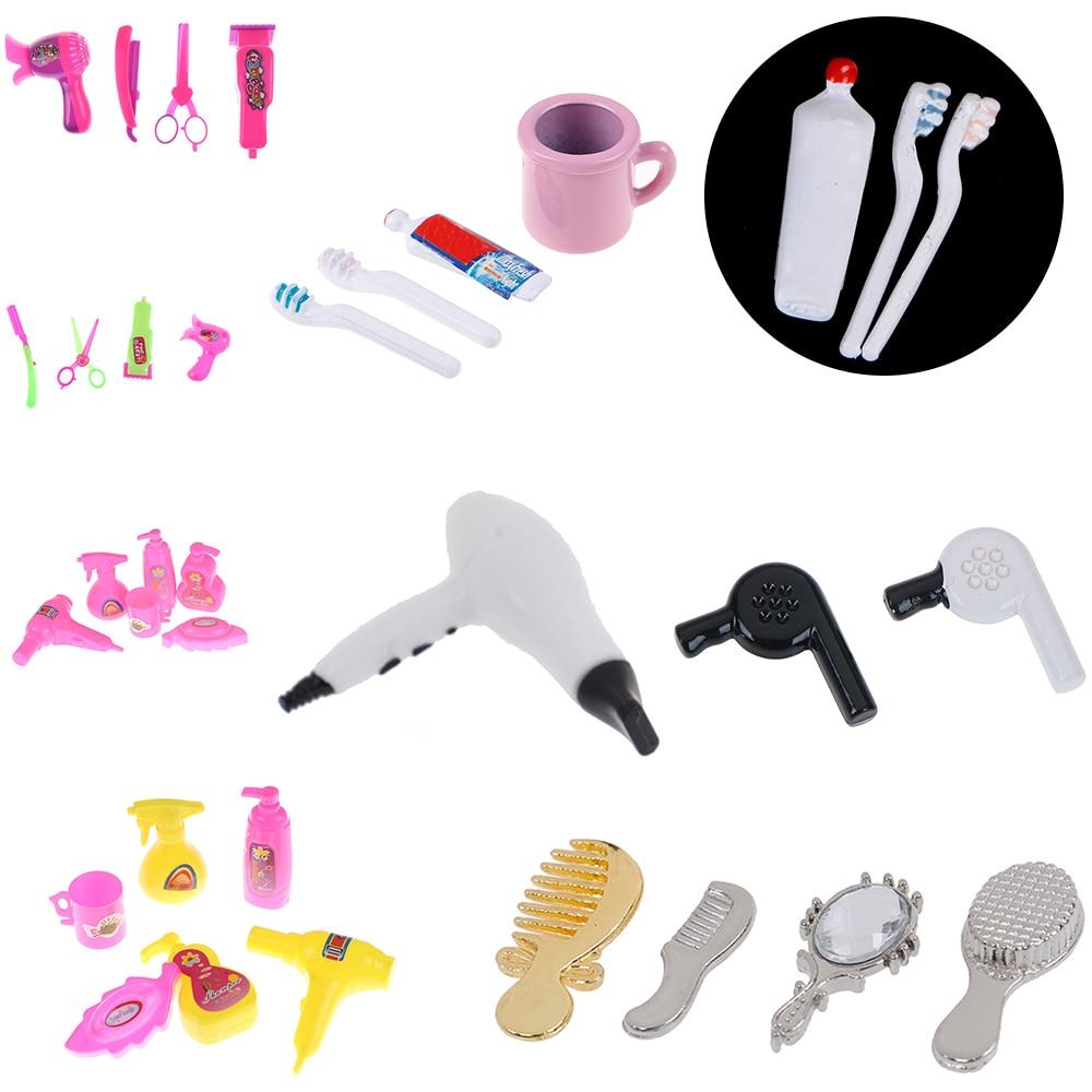 Best Sale 1/12 Dollhouse Miniature Comb Hair Dryer Toothpaste Toothbrush Bathtub For Dolls Bathroom Accessories