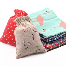 Linen Bag Packaging-Bag Crafts Gift Printed Polka-Dot Wedding-Party Small Cotton Home-Decoration-Ornaments