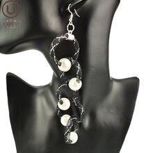 UKEBAY New Long Pearl Earrings For Women Fashion Earrings Drop Jewelry Party Accessories Handmade Jewellery Black Mesh Meterial