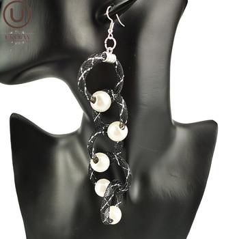 UKEBAY nuevos pendientes largos de perlas para mujer pendientes de moda gota accesorios para fiesta, joyería hecha a mano joyería malla negra material
