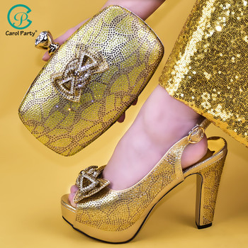 New African Elegant Gold Color Shoes And Bag To Match Set Nigerian High Heels Party Shoes And Bag Set For Wedding Dress