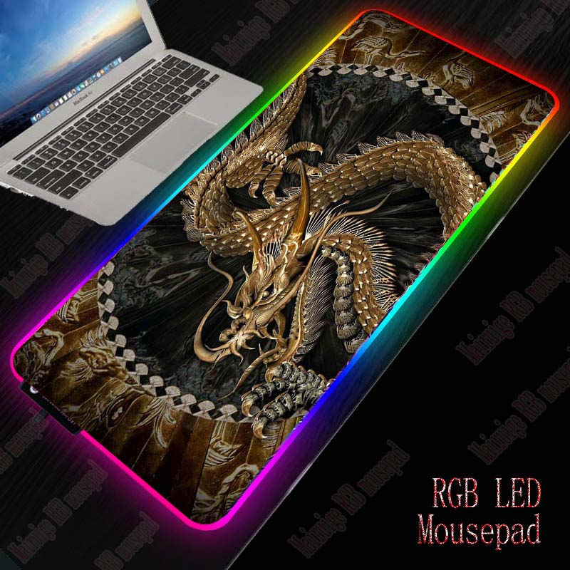 XGZ Dragon Animal Gaming Mouse Pad LED RGB Large Gamer Mousepad USB LED Lighting Backlit Rainbow Computer Mat Keyboard Desk Pad