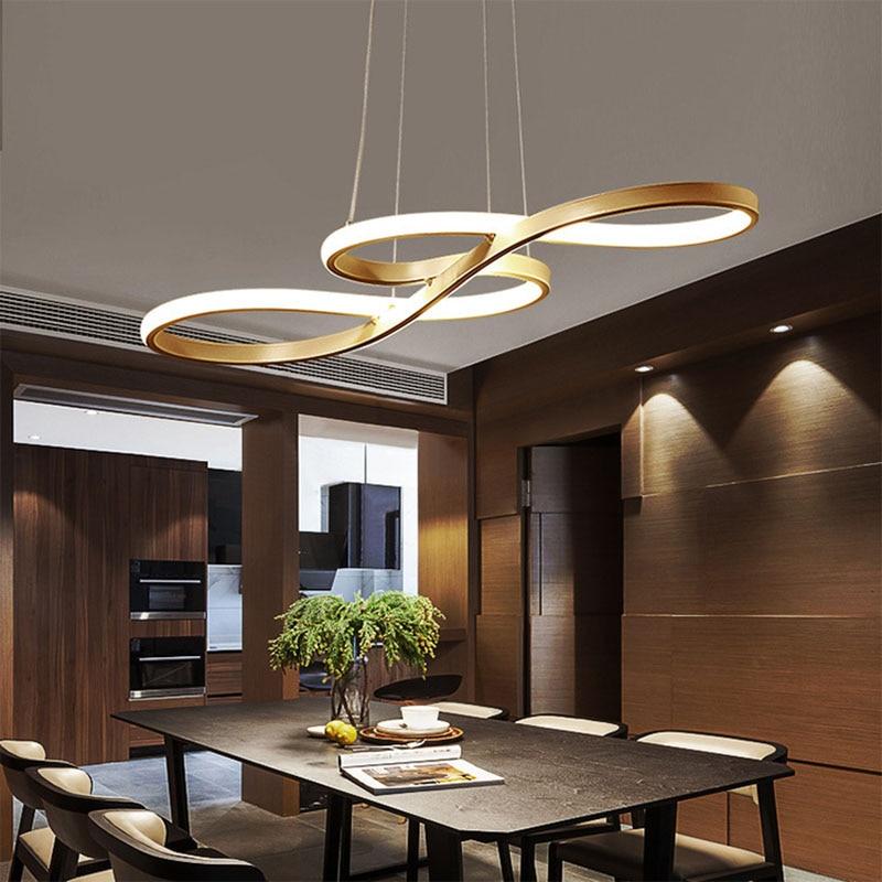 Luz colgante LED nórdica originalidad Musical nota curva colgante lámpara personalidad dormitorio cocina restaurante accesorios de iluminación - 4
