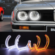 for BMW E30 E32 E34 1984 1985 1986 1987 19881990 Crystal DTM Style LED Angel Eyes Light White and Yellow Turn Signal Halo Ring(China)