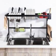 Estante de cocina de acero inoxidable, organizador sobre el fregadero, soporte de secado de vajilla, 65/79/85/91CM, 2 niveles