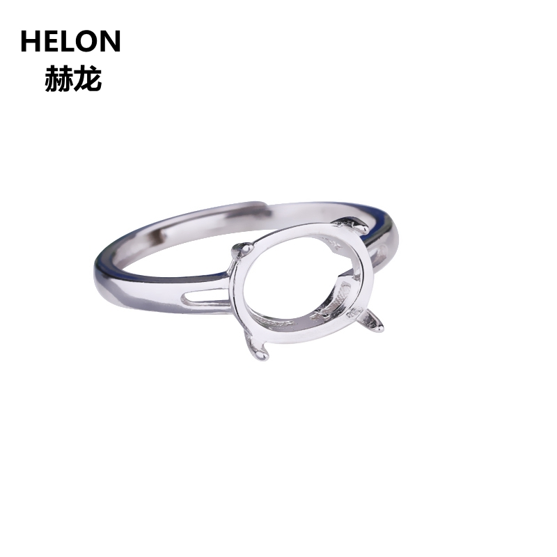 925 Sterling Silver Women Engagement Wedding Ring 6x8mm 7x9mm 8x10mm Oval Cabochon Semi Mount Ring fit Amber Setting Wholesale