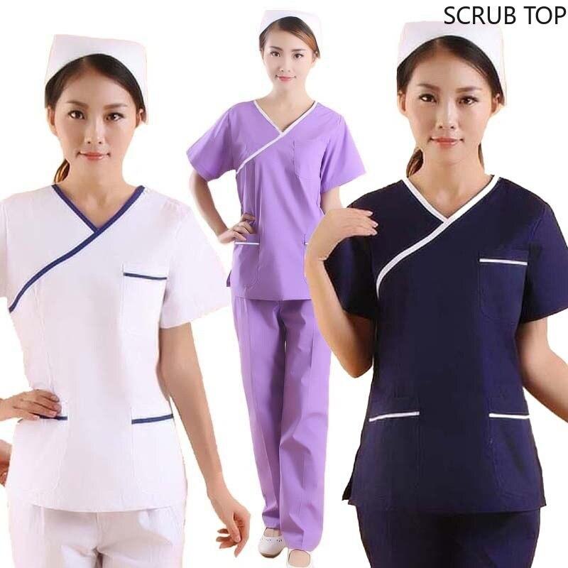 Moda feminina esfrega topo cor bloqueio design uniformes médicos uniformes de enfermagem manga curta v-neck topo (apenas um topo)