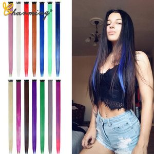 CHARMING 50Cm Rainbow Colors One Clip In Hair Extensions Straight Long Synthetic For Women Hair Piece Blue Pink Purple Red 13G/P