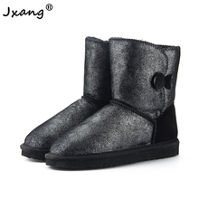 цена на JXANG 2020 Women's Australian Leather Snow Boots Winter Warm Leather Flat Boots Fashion Buckle Coldproof Plus Size Snow Shoes