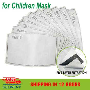 1/2/10/20/50/100Pcs PM2.5 Mouth Mask Replaceable Filter-slice 5 Layers Non-woven Child Kids Activated Carbon Filter (4.7*3inch)
