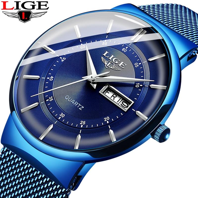 Mens Watches LIGE Top Brand Luxury Waterproof Ultra Thin Date Clock Male Steel Strap Casual Quartz Innrech Market.com
