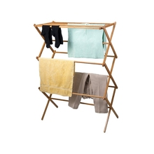 Floor drying rack folding solid wood balcony indoor retractable household towel rack clothes rack clothes drying rod