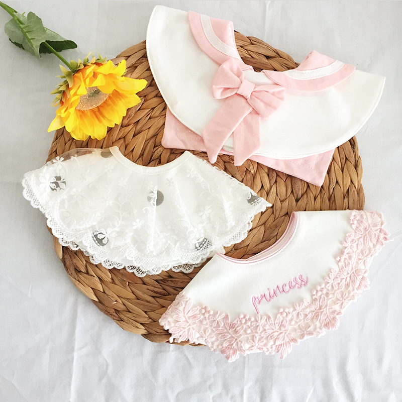New INS Korean Baby Girls Boys Bib Cotton Cute Lace Bow Tie Infant Breastplate Newborn Baby Drooling Burp Cloths Autumn Winter