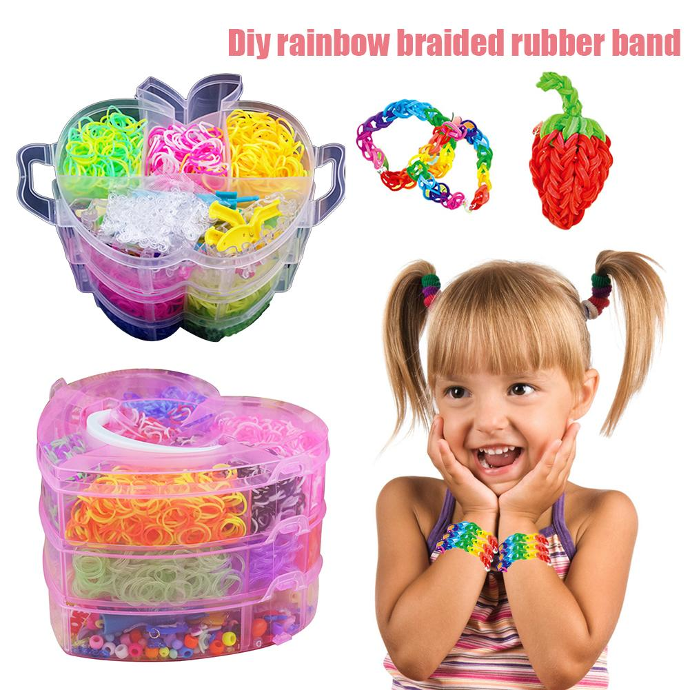 4000pcs Diy Rainbow Braided Rubber Band Rainbow Loom Rubber Band Twister Case Kit Bracelet Making Tools Set DIY Crafts