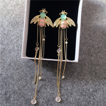 Cute Rhinestone Enamel Insect Bee Earrings Gold Color Alloy Chain Long Tassel Earrings kpop Costume Jewelry rhinestone long chain earrings