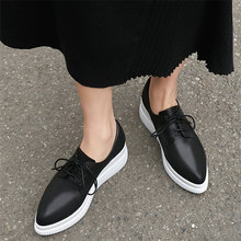 Punk Trainers Women Lace Up Cow Leather Wedges High Heel Vulcanized Shoes Female Pointed Toe Platform Pumps Shoes Casual Shoes krazing pot recommend autumn cow leather wedges thick bottom high heels straw sole pumps lace up mixed color oxford shoes l92