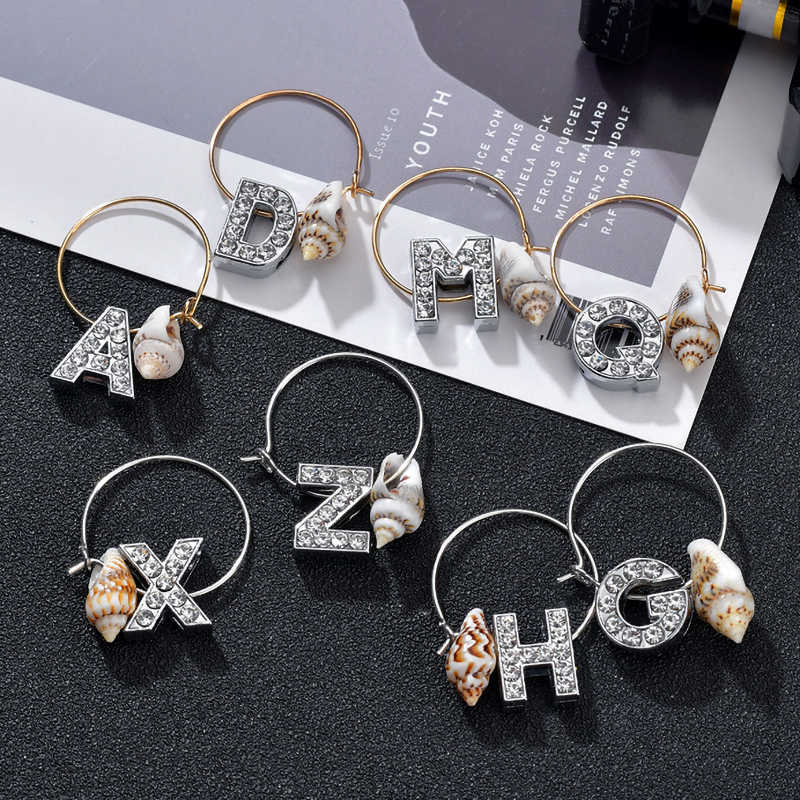 Fashion Letter Round Drop Earrings Gold Silver Color Sea Shell Tassels Hoop Earrings For Women Cute Christmas Jewerly Gifts