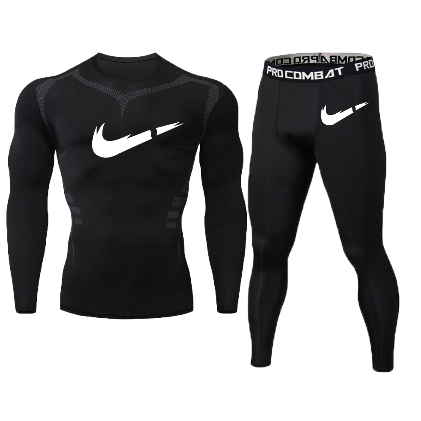 New Fitness Men's Set Pure Black Compression Top + Leggings Underwear Crossfit Long Sleeve + Short Sleeve T Shirt Apparel Set-in Men's Sets from Men's Clothing