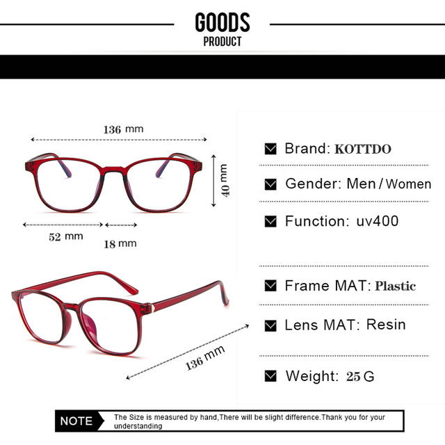 KOTTDO Retro Mens Glasses Frame Fashion Computer Eyeglasses Frame Women Anti-blue Light Transparent Clear Pink Plastic Frame 6