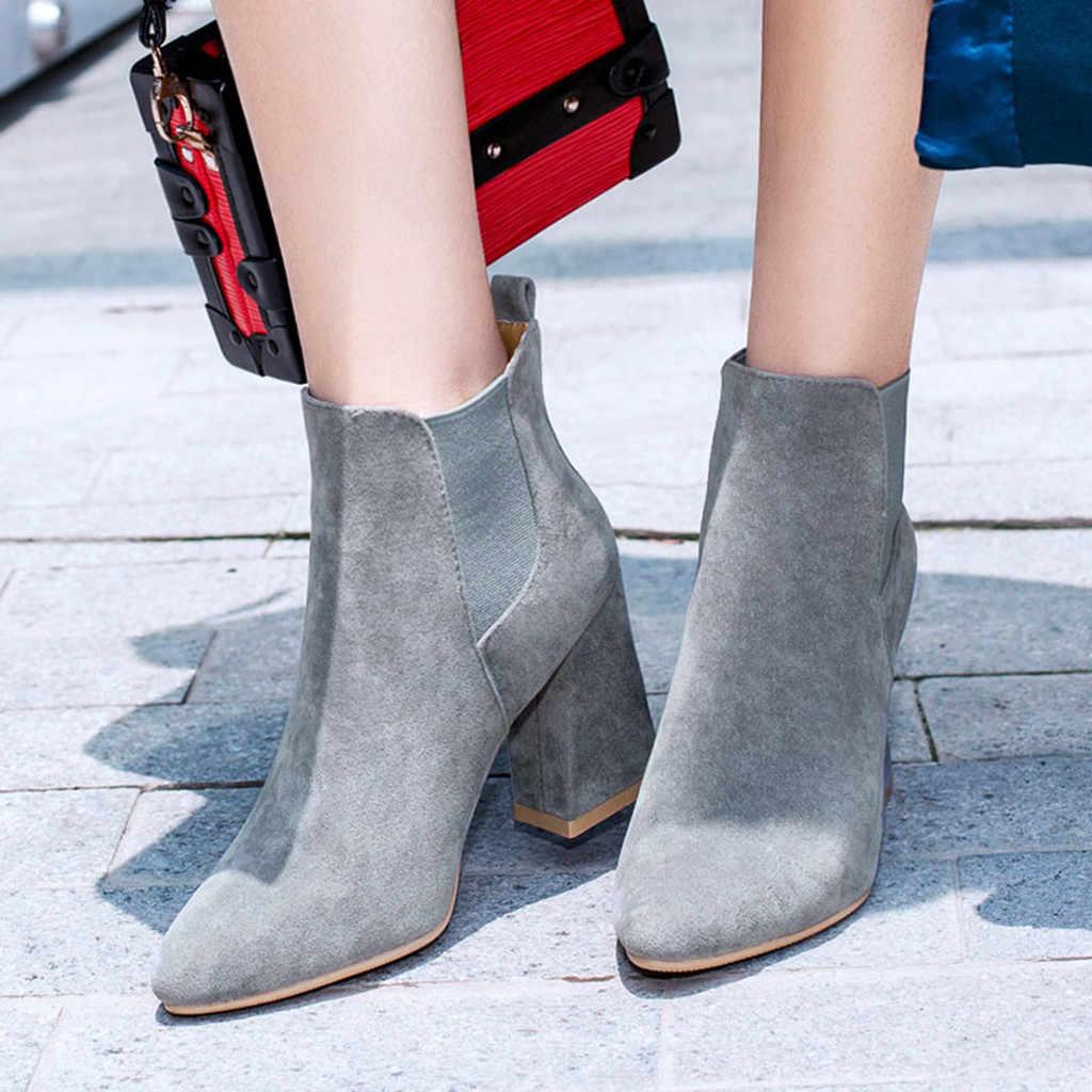JAYCOSIN kadın bot ayakkabı kadın moda rahat düz renk sivri burun kısa yarım çizmeler yüksek topuk ayakkabı bayan botları boyutu 43