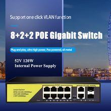 POE Switch Gigabit Uplink 52V con 8-Port POE + 2 + 2 SFP IEEE 802.3 af/A 1G Interruttore Adatto per la macchina fotografica IP/Wireless AP/POE della macchina fotografica