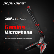 PopuPine 게임용 마이크 USB 3.5mm 컴퓨터 마이크 용 데스크탑 PC 마이크 볼륨 조절 스위치 녹음 채팅 마이크
