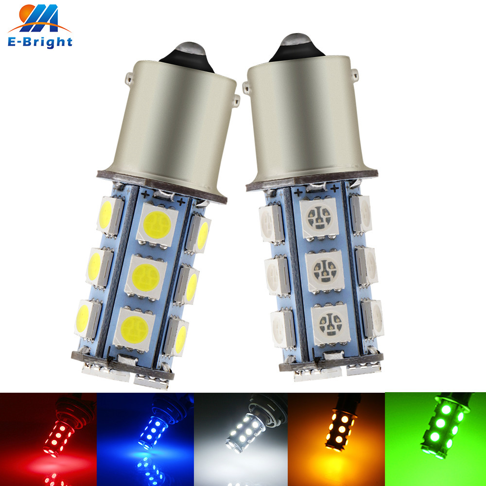 2X 12V <font><b>P21W</b></font> 1156 BA15S 5050 18 SMD LED Bulb Car Light 216Lm Turn Signal Backup Reverse Tail Lamp White Blue <font><b>Red</b></font> Green Amber image