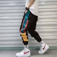Hip Hop Streetwear männer Splice Jogger Hosen Mode Männer Casual Cargo Pant Hose High Street Elastische Taille Harem Hose männer