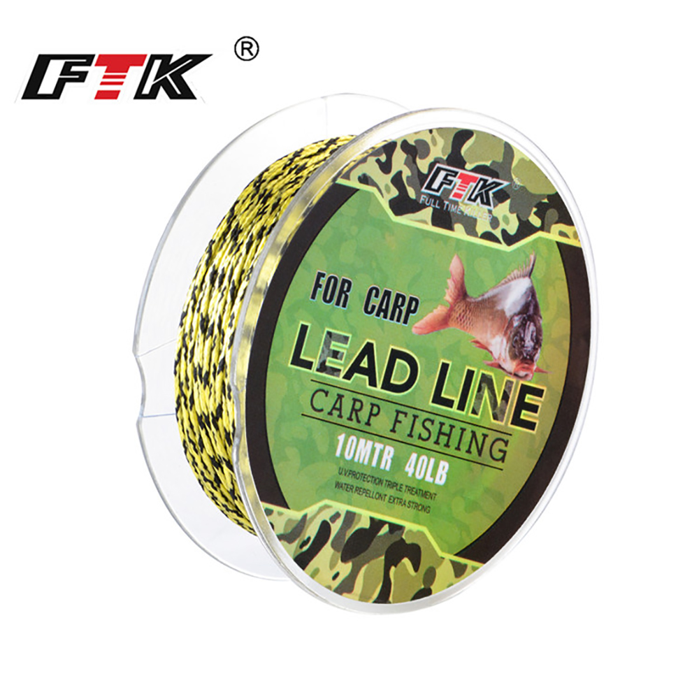 FTK 10M 10LB-60LB Lead Line Braided Wire Core Carp Fishing Line PE Hook Link Line Fishing Tackle For Carp Fishing
