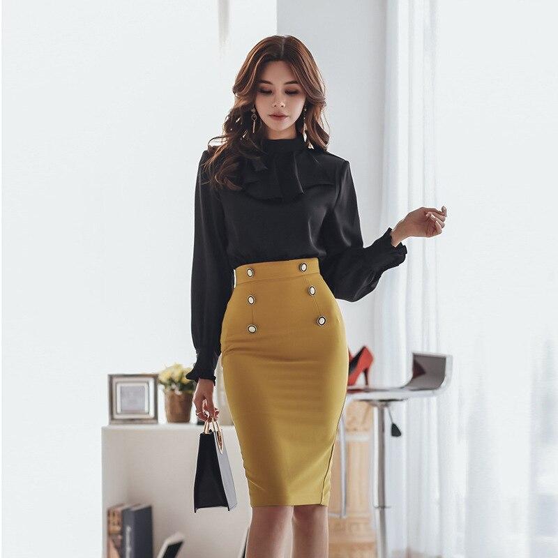 BacklakeGirls 2020 Elegant Black Yellow Contrast Color Patchwork Wear To Work Vestidos Business Party Office Women Bodycon Dress