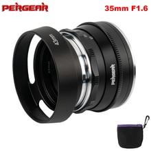 Pergear lente fija de enfoque Manual F1.6 de 35mm para Sony e mount, para cámaras Fuji A6300, A6500, A7, A7II, A7RII, X A2, XT3, X T1, X T30