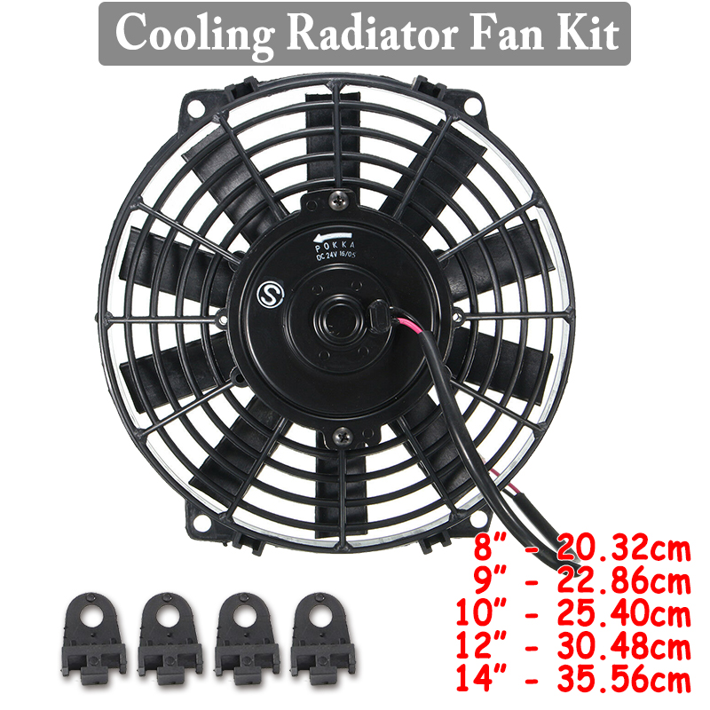 Electric Radiator Slim Fan 14in Electric Radiator Slim Fan 12V Slim Electric Cooling Radiator Fan Push//Pull Replacement Cooling Fan Assembly with Mounting Kit
